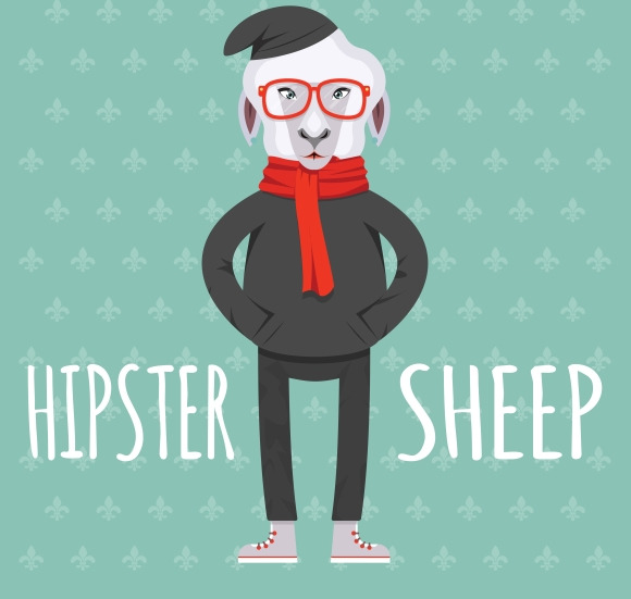 Cartooned Hipster Sheep