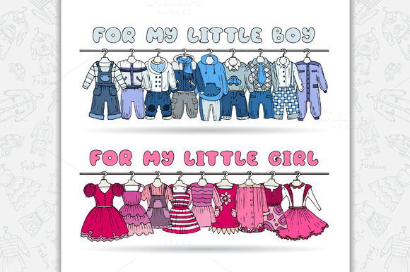 Set With Cartoon Children Clothes