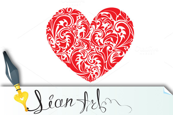 Red Ornamental Floral Heart On White