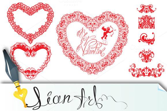 Set Of Vintage Ornamental Hearts