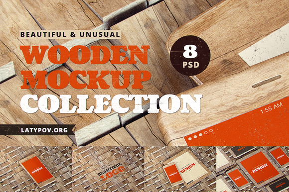 Wooden Unusual Mock-ups