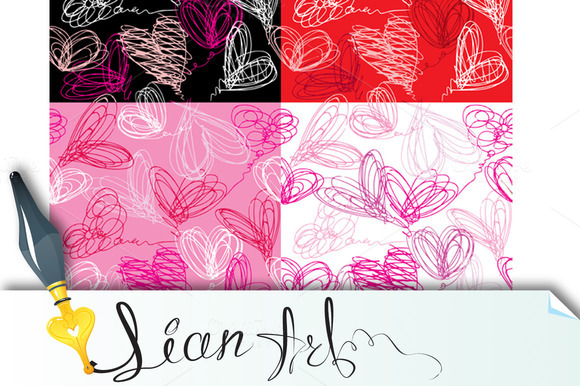 Seamless Pattern With Scribble Heart
