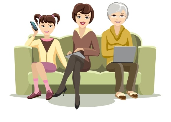 Females On Couch With Gadgets