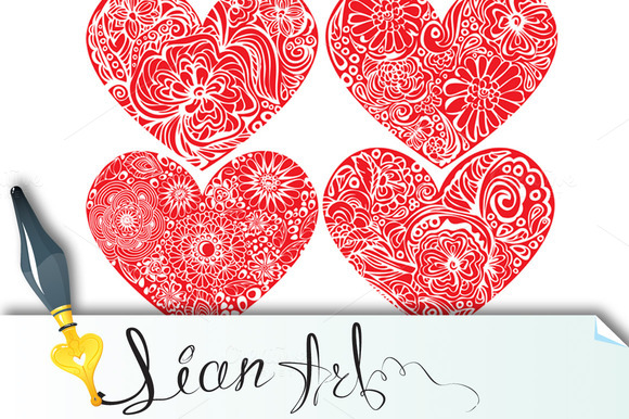 Set Of Hearts With Ornaments