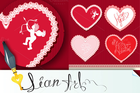 Set Of Hearts Are Made Of Laces