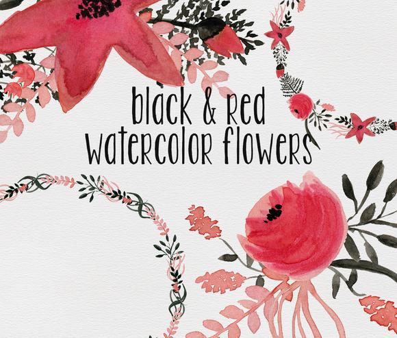 Black Red Watercolor Flowers
