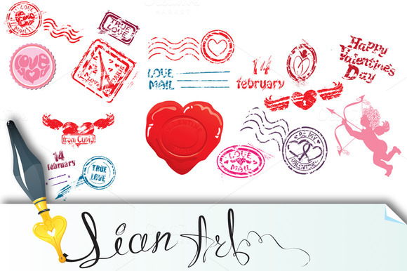 Love Mail Design Elements
