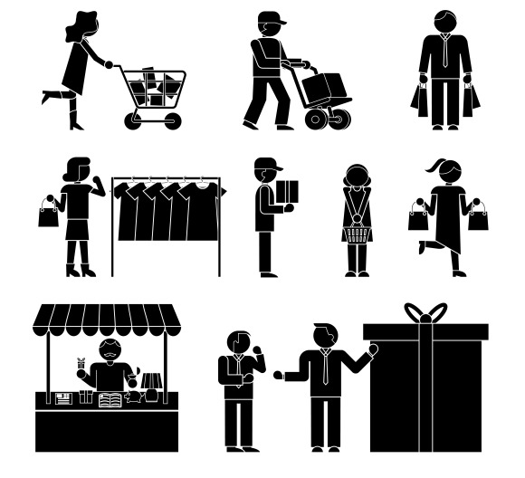 Shoppers And Shopping Icons