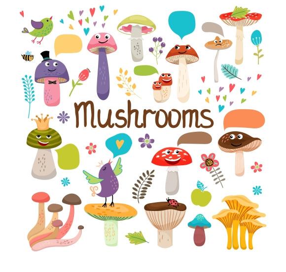 Cute Cartoon Mushrooms With Faces