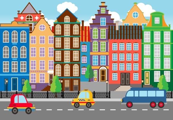Seamless Cartooned City Life Graphic