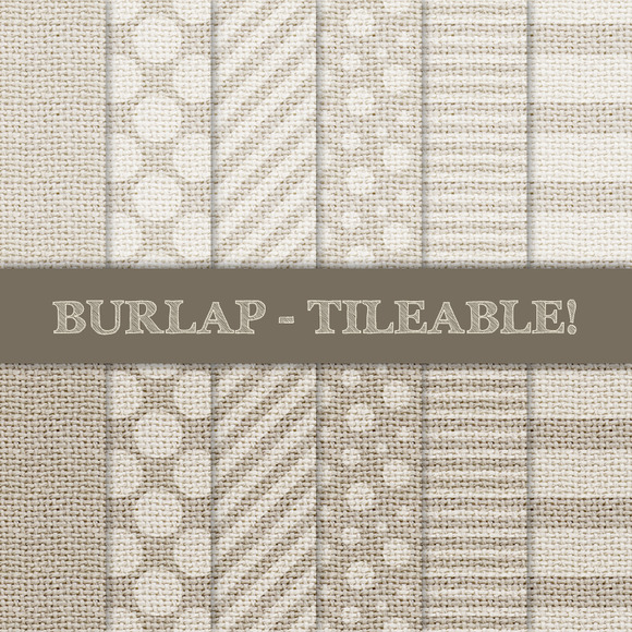 Burlap Digital Papers Cream Beige