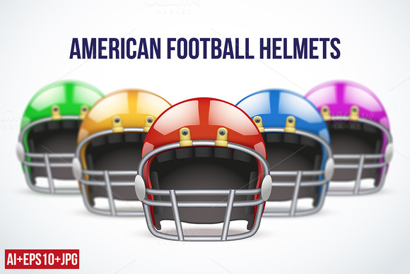 Set Of American Football Helmets