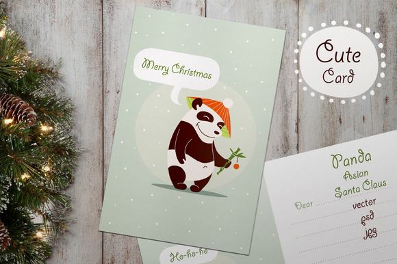 Christmas Greeting Card Panda Santa