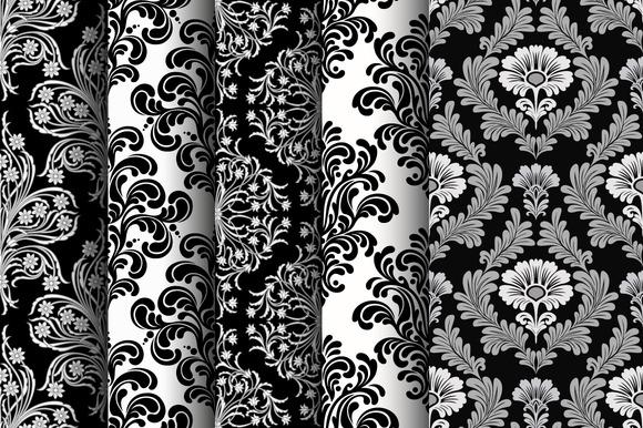 Set Of Seamless Damask Patterns