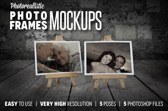 Photorealistic Photo Frames Mokcups