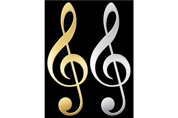 Treble Clef Gold And Silver