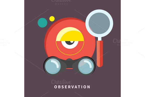Icon In Flat Design For Observation