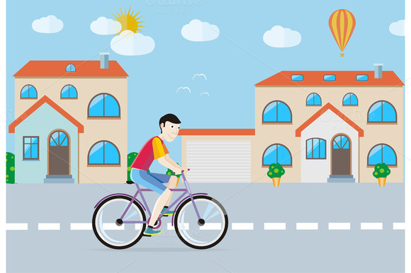 Set Man Riding His Bike
