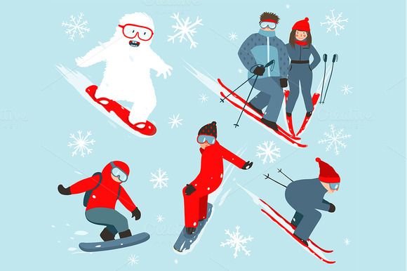 Skier And Snowboarder Winter Sport