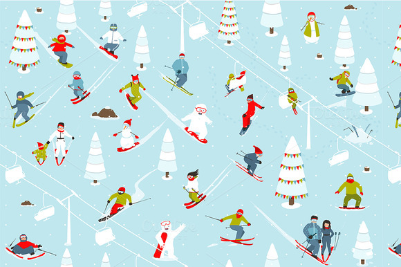 Mountain Ski Resort Seamless Pattern