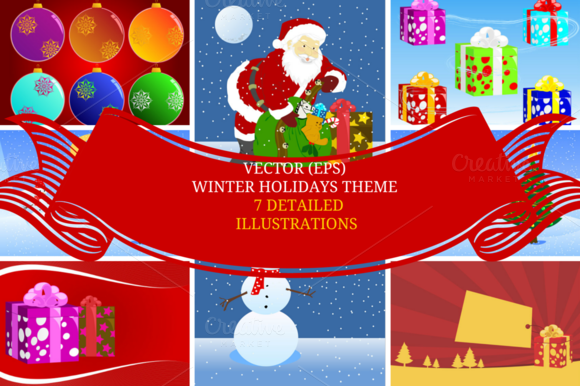 Xmas Theme Vector Illustrations
