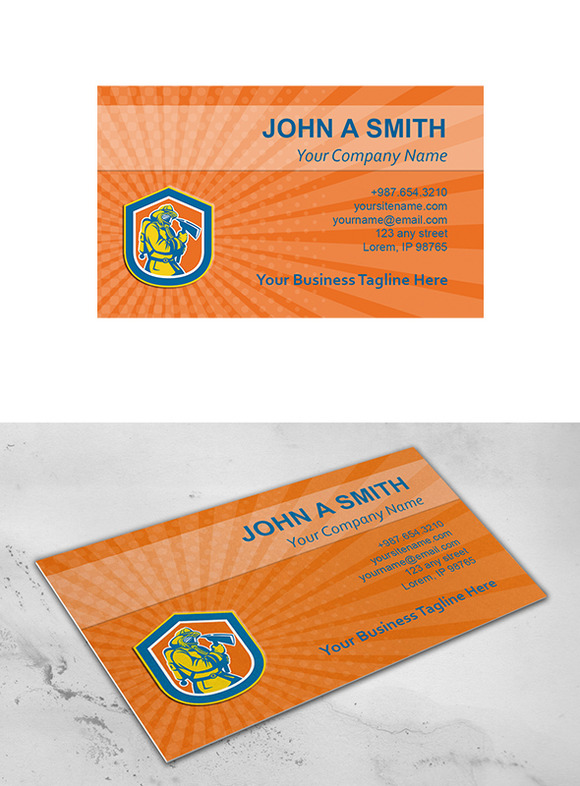 Business Card Template Fireman Firef