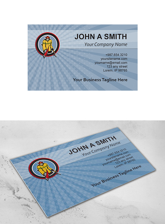 Business Card Template Fireman Carry