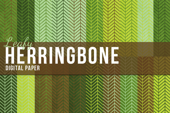 Leafy Herringbone Digital Paper