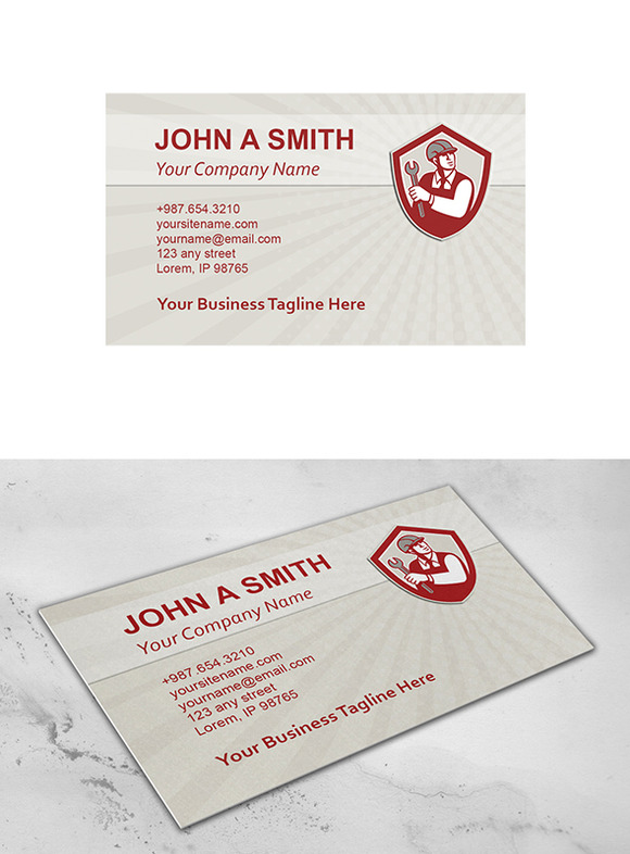 Business Card Template Mechanic Hold