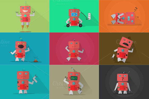Robot Characters Bundle 9 In 1