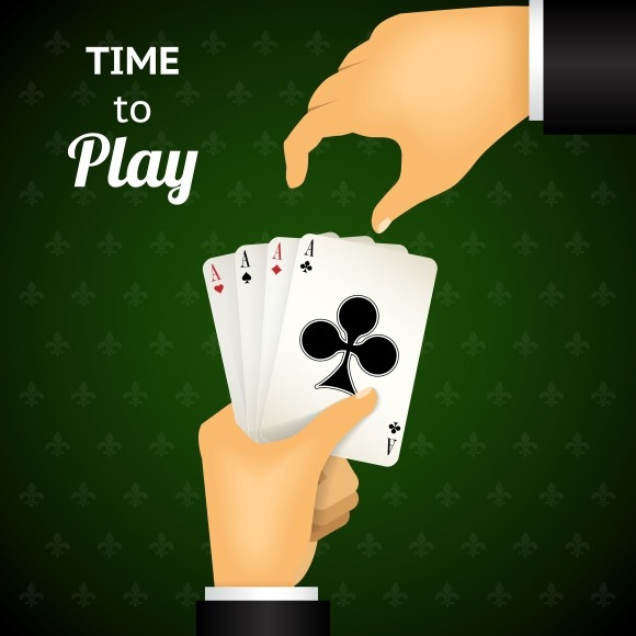 Hand Holding Four Aces Cards