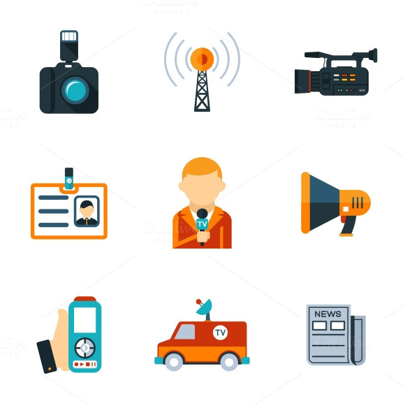 Assorted Journalism Flat Icons