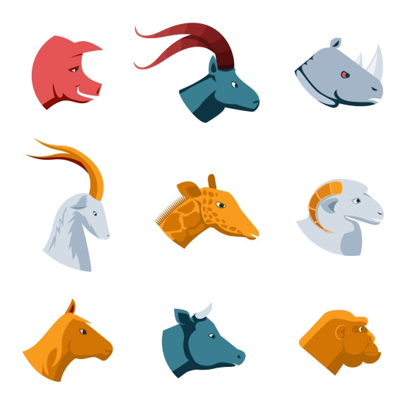 Flat Designs Of Various Animal Heads