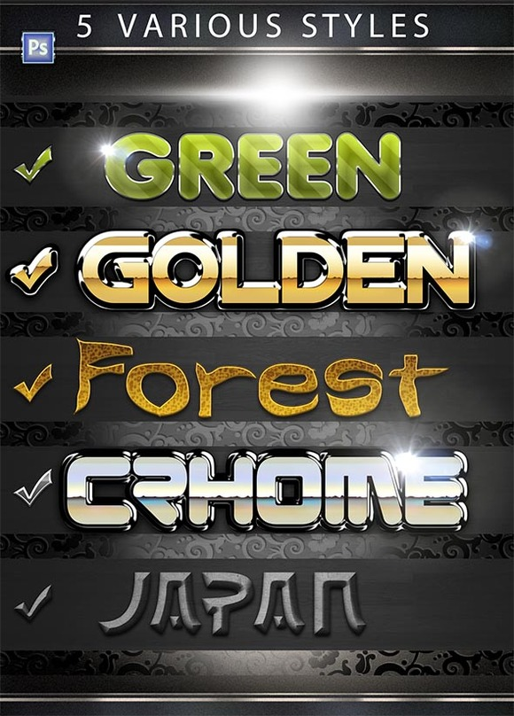 5 Various PS Styles Font Part