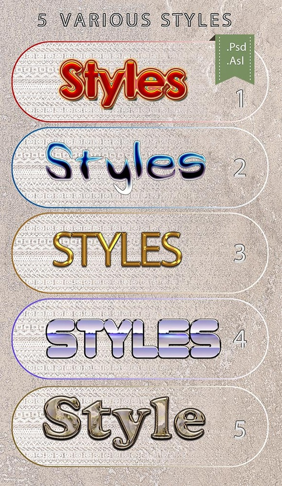 5 Various PS Styles Font Part 3