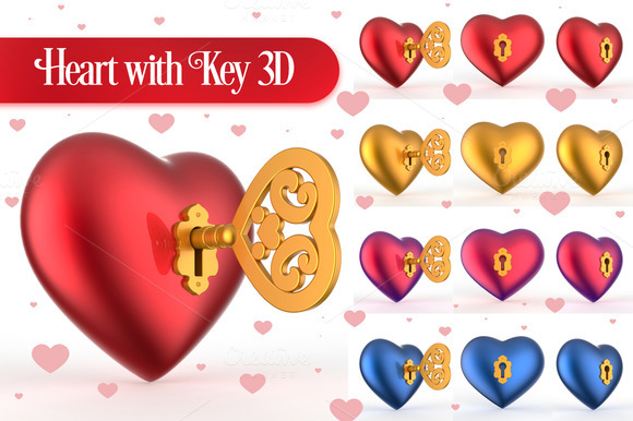 Heart With Key 3D