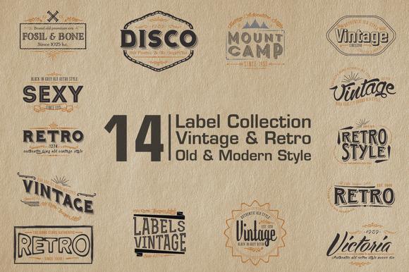 14 Label Vintage Retro Style