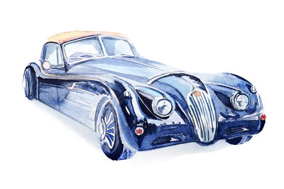 Watercolor Retro Car