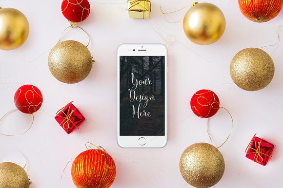 Christmas Iphone 6 Mockup PSD