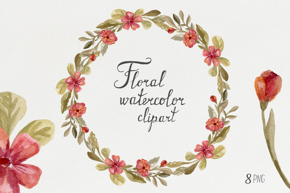 Watercolor Wreaths Flowers
