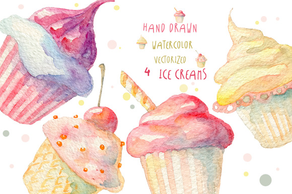 Watercolor Ice Creams Vectorized