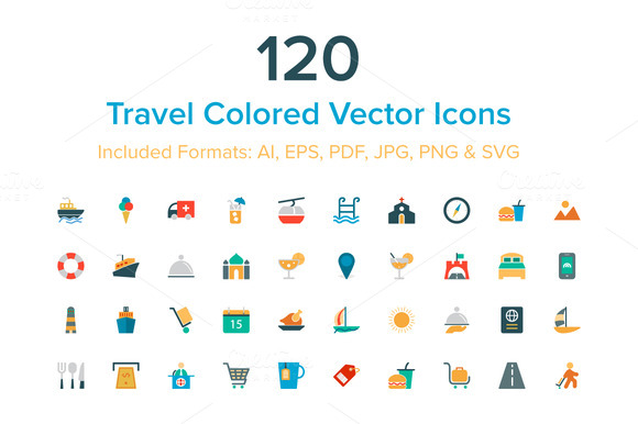 120 Travel Colored Vector Icons