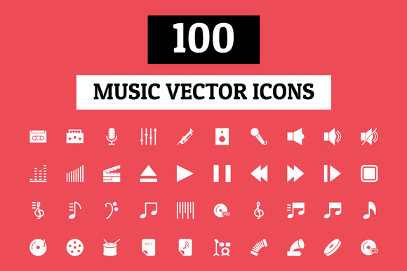 100 Music Vector Icons