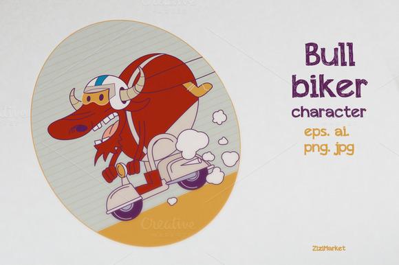 Character Bull Biker