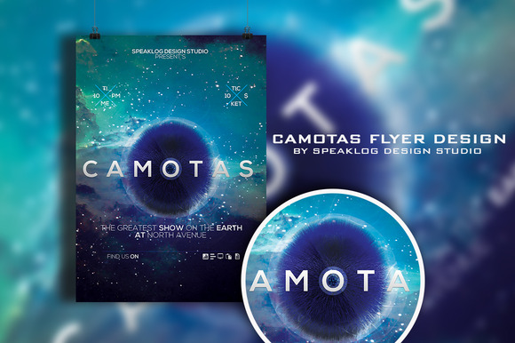 Camotas Futuristic Flyer Design
