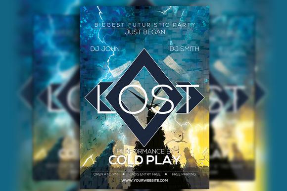 Lost Futurestic A4 Flyer Design