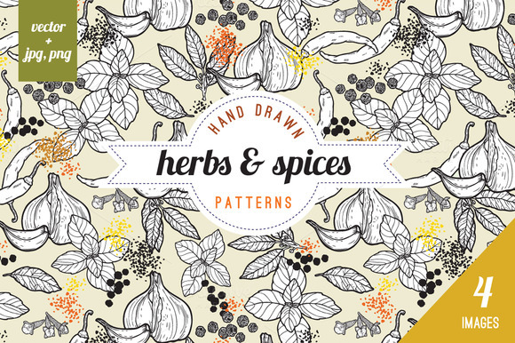 Seamless Spices Herbs Patterns
