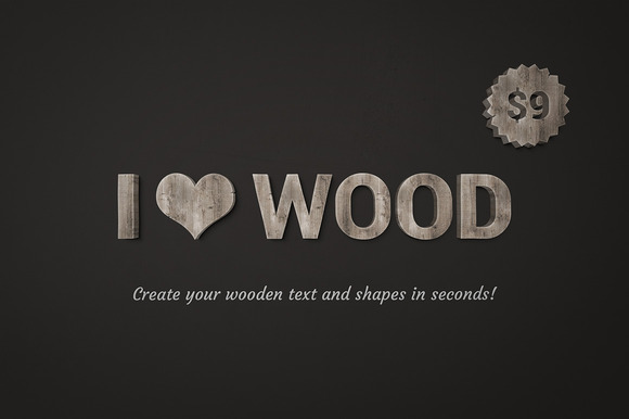 I Wood Wooden Text Effect