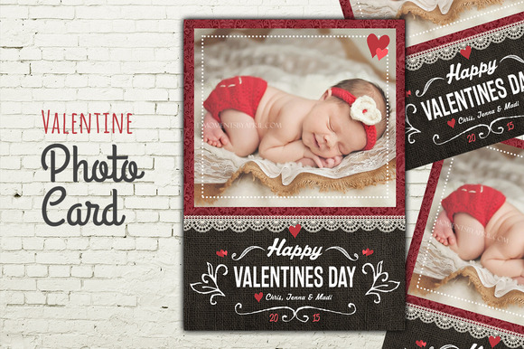 Valentine Photo Card PSD Template