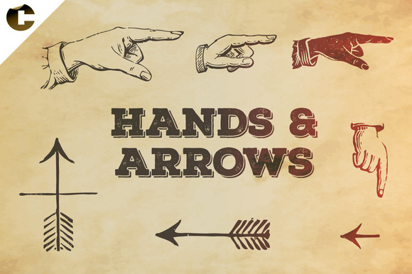 Vintage Hands Arrows Symbols